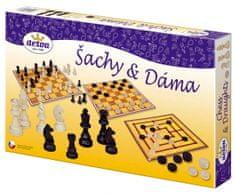 DETOA gry towarzyskie w pudełku: szachy i warcaby 35x23x4 cm