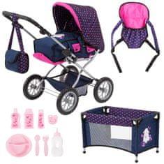 Bayer Design Kočárek pro panenky Combi grande set modrá/růžová