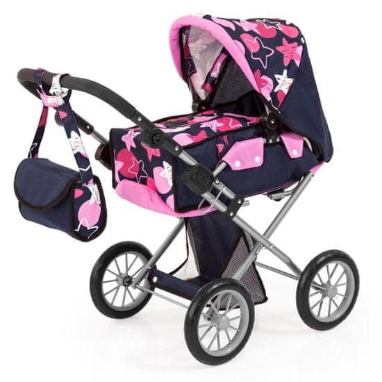 Bayer Design Kočárek pro panenky City star - tmavě modrá/růžová