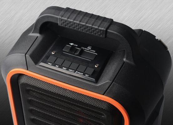 přenosný bluetooth reproduktor C-Tech Impressio Garde karaoke 6,3mm jack 2 mikrofony mp3 wma paměťová sd karta usb
