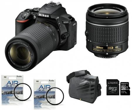 Nikon fotoaparat D-5600 kit 18-55VR + 70-300VR + Fatbox 32GB + UV filter