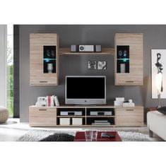 Obývacia stena, dub sonoma/číre sklo, FRONTAL 2
