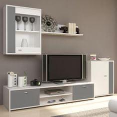 Obývacia stena GENTA, biela/sivá,