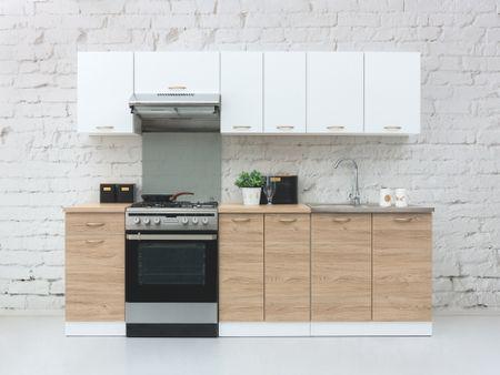 Kuchyně ETHAN 180/240 cm, korpus bílý/dvířka dub barrique, bílý mat