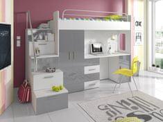 Patrová postel se skříní a psacím stolem RAJS 4S, bílá/šedý lesk