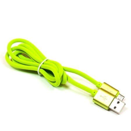 EXTREME STYLE Univerzální silikonový kabel USB - micro USB, zelený, 100 cm