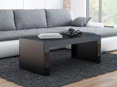 Konferenční stolek DEVIN, černý mat/černý lesk