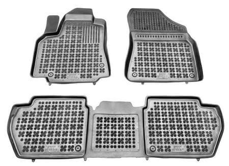 REZAW-PLAST Gumové koberce, sada 3 ks (2x přední, 1x spojený zadní), Citroen Berlingo, Peugeot Partner od r. 2008