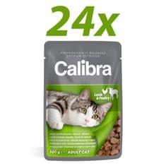 Calibra mokra hrana za mačke, jagnje in perutnina, 24x100 g
