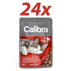 Calibra mokra hrana za mačke, piščanec in govedina, 24x 00 g