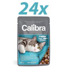 Calibra mokra hrana za mačke, postrv in losos, 24x100 g