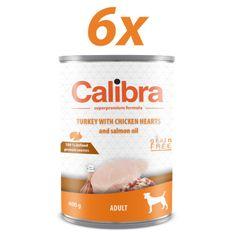 Calibra mokra hrana za pse Adult, puran in piščančji srčki, 6x400 g