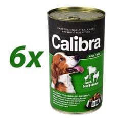 Calibra mokra hrana za pse, jagnje, govedina in piščanec, 6x1240 g