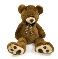 Teddies Medvěd s mašlí plyš 130cm tmavě hnědý v sáčku