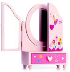 Teddies Zrcadlo šperkovnice Princess 3-dílné zásuvka dřevo 16x25x8 cm v krabici