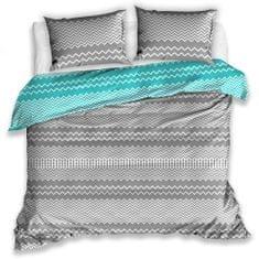 BedTex bombažna posteljnina Railing turkizna 140x200 / 70x90