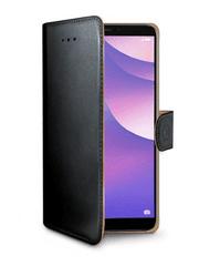 CELLY Oldalra nyíló tok a Huawei Y7 (2018)/Y7 Prime (2018) telefonra, PU bőr, fekete WALLY762