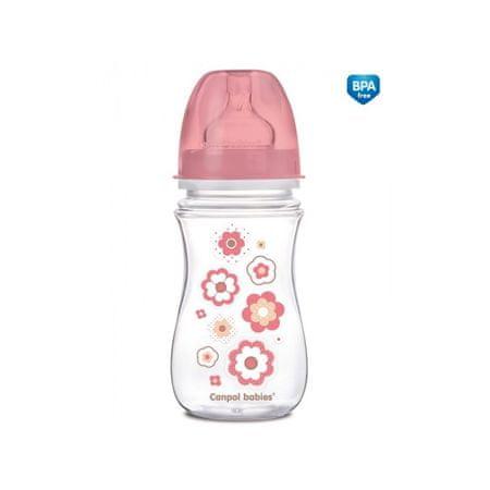 Canpol babies Fľaša so širokým hrdlom NEWBORN BABY 240ml, Ružová