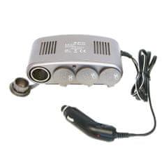 CarPoint Rozčtyřka 12V - s kabelem Lux 10A a LED kontrolkou šedá
