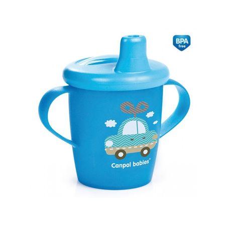 Canpol babies Netečúci hrnček TOYS 250 ml, Modrá