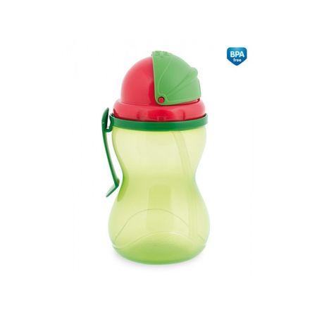 Canpol babies Fľaša športová so slamkou 370 ml, Zelená