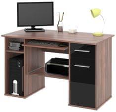 Kancelářský PC stůl FLYNN, švestka/černý lesk