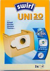 Swirl vrečke za sesalec UNI 20, papirnate, 3 kosi