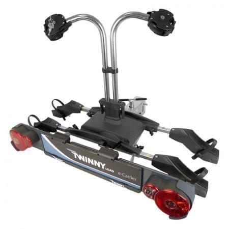 Twinny Load E-Carrier vonóhorogra szerelhető tartó 2 kerékpárra, lehajtható