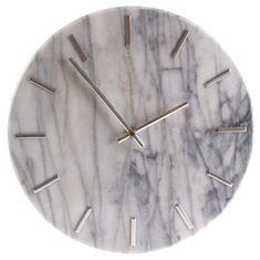 Danish Style Nástenné hodiny Mramor, 30 cm, biela