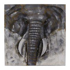 Danish Style Obraz Big Elephant 80x80 cm, olej na plátně