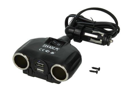 ROXA Rozdvojka zásuvky zapalovače - 2x USB port + 2x výstup zapalovače cigaret