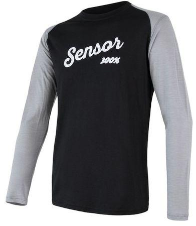 577b0f08a1 Sensor Merino Active PT Logo hosszú ujjú férfi póló fekete / szürke ...