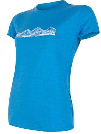 Sensor ženska majica s kratkim rukavima Merino Active Pt Mountains, S, plava