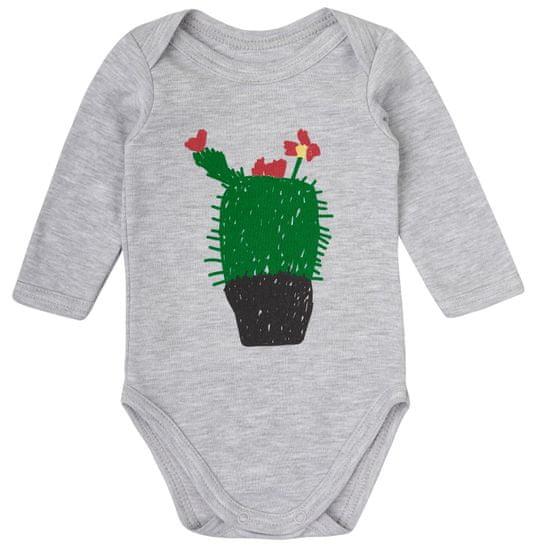 Garnamama Dětské body s kaktusem 56 šedá