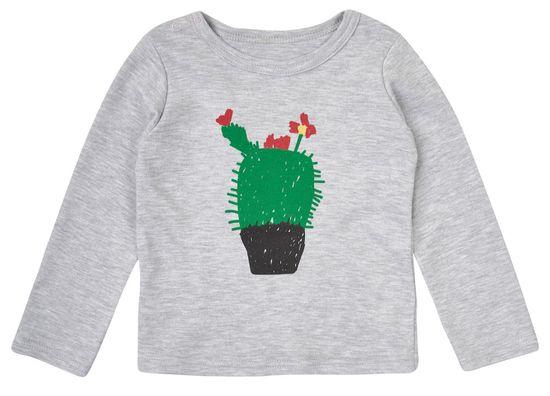 Garnamama Dětské tričko s kvetoucím kaktusem 68 šedá