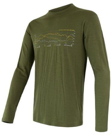 Sensor męska koszulka z długim rękawem Merino Active Pt Track, Safari, L