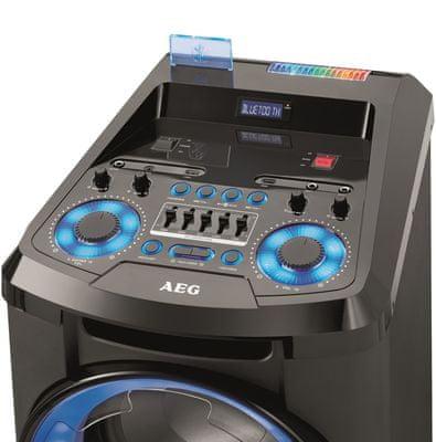 bluetooth bezdrátový reproduktor AEG EC 486 kolečka držadlo nastavení hlasitosti mikrofonu