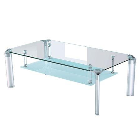 Konferenčný stolík RICKY, strieborný/sklo