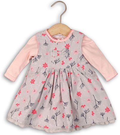 Minoti Dívší set šaty a body kytičky 80 - 86 růžová