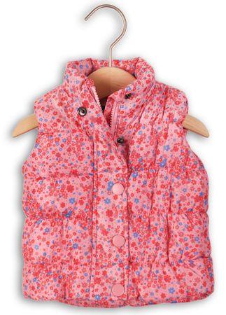 Minoti Dívčí zateplená vesta kytičkovaná 80 - 86 růžová