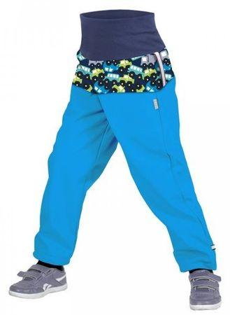 Unuo Chłopięce spodnie softshell z polarem z autami SLIM 86/92 niebieski