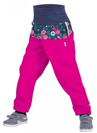 Unuo Dívčí softshellové kalhoty s fleecem Květinky SLIM 86/92 růžová