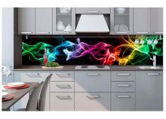 Dimex Fototapeta do kuchyne KI-260-081 Farebný dym v čiernom 60 x 260 cm