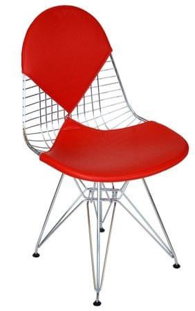 Mørtens Furniture Jídelní židle Jette, chrom/červená