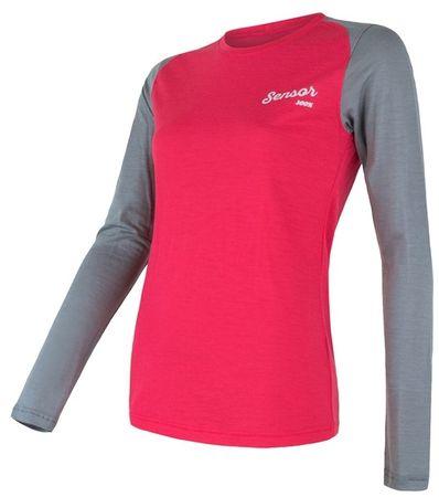 Sensor ženska majica z dolgimi rokavi Merino Active PT Logo, L, roza/siva