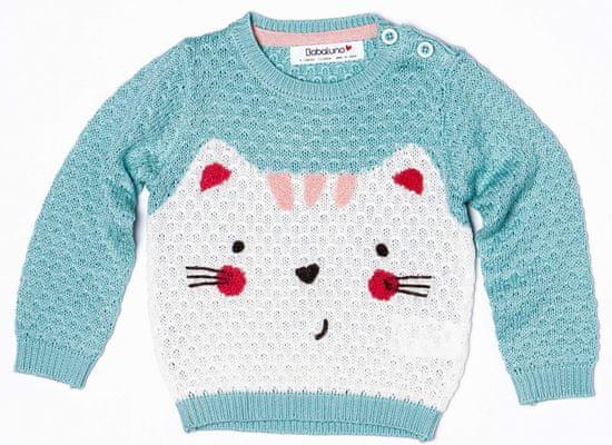 Minoti Dívčí svetr s kočičkou II 56 - 62 tyrkysová