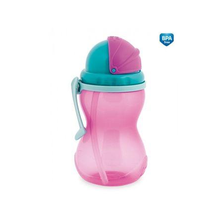 Canpol babies Fľaša športová so slamkou 370 ml, Ružová