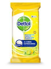 Dettol Antibakteriális felület tisztító törlőkendő Citron és Limeta 32 db.