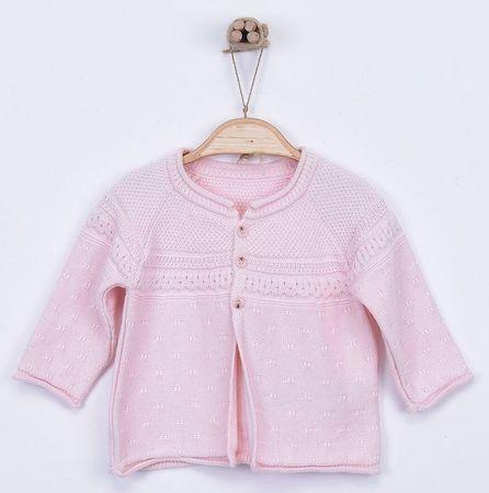 Kitikate Dievčenský pletený svetrík vzorovaný 56 ružová