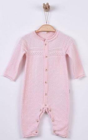 Kitikate Dívčí pletený overal vzorovaný 56 růžová